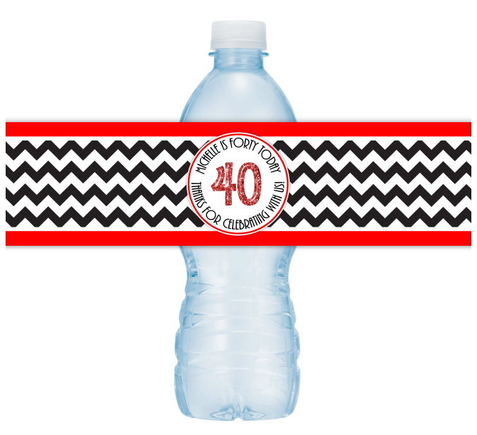 Black and Red Chevron 40th Birthday Water Bottle Labels 104-wbl