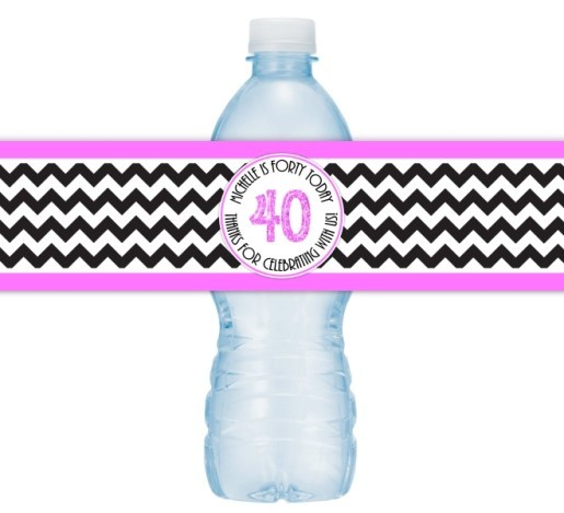 Hot Pink and Black Chevron 40th Birthday Water Bottle Labels 105-wbl