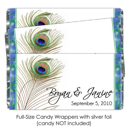 Beautiful Peacock Feather Candy Bar Wrapper 206b-e