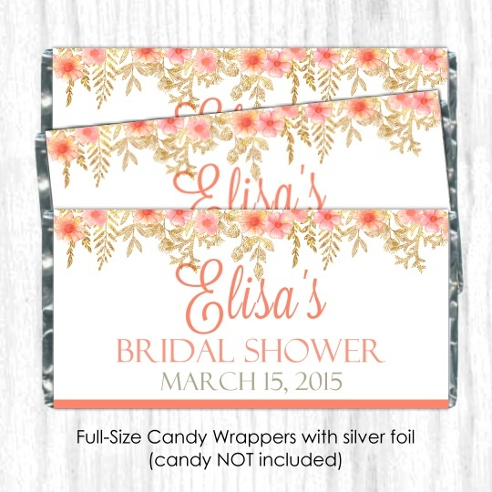 Peach Gold Floral Wedding Candy Wrappers 105-weddingwrappers