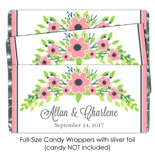 Pink Pastel Floral Wedding Candy Wrappers 112-weddingwrappers
