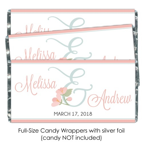 Floral Ampersand Wedding Candy Wrapper Favors 154-candybarwrappers