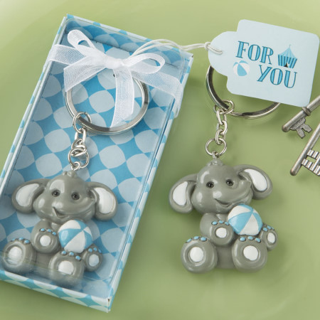 Adorable Baby Elephant with Blue Design Key Chain 300-BABY