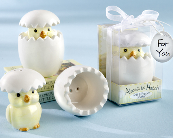 """ABOUT TO HATCH"" CERAMIC BABY CHICK SALT & PEPPER SHAKERS 235-BABY"
