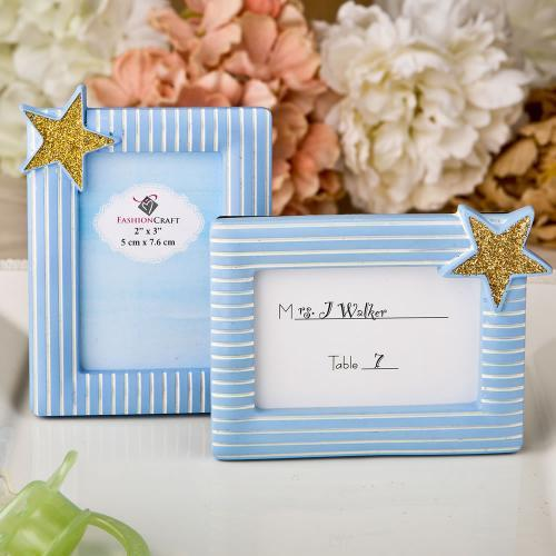 Blue and Gold Photo Frame / Place Card Frame 245-BABY
