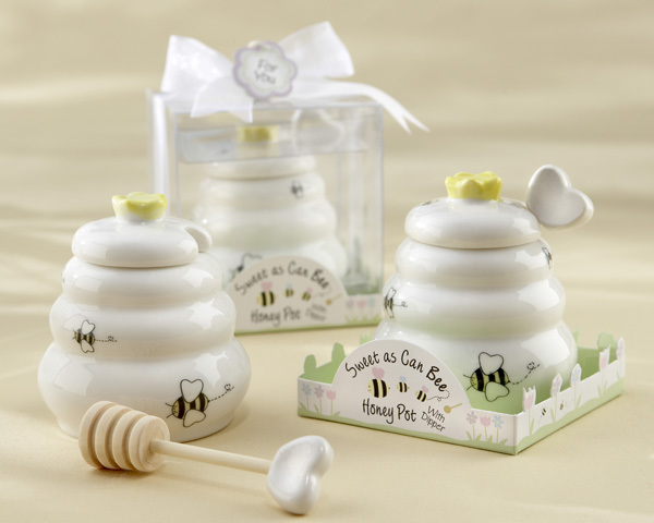 """""""Sweet As Can Bee"""" Ceramic Honey Pot with Wooden Dipper 626-BABY"""