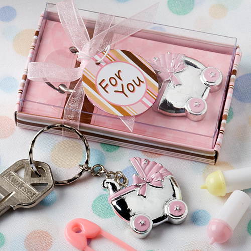Pink Baby Carriage Design Key Chains 263-BABY