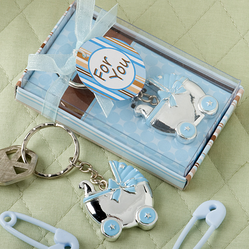 Blue Baby Carriage Design Key Chains 264-BABY