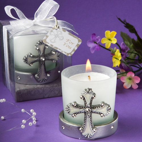 Regal Favor Collection Cross Themed Candle Holders 147-B