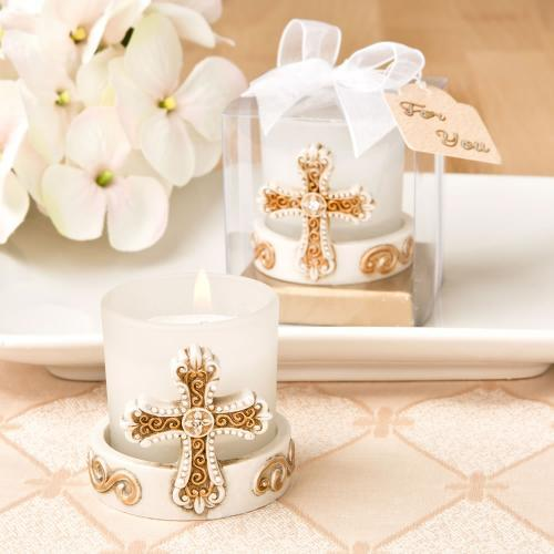 Vintage Cross Themed Candle Votive 229-BC