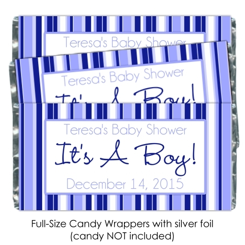 It's A Boy Blue Striped Baby Shower Candy Wrappers 175-BABY