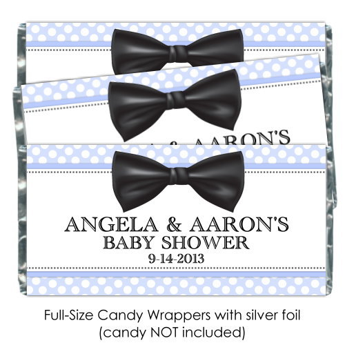 Blue Polka Dot with Bow Tie Baby Shower Candy Wrappers 176-BABY
