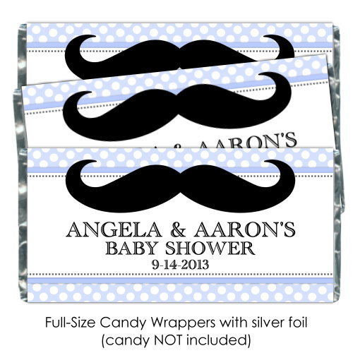 Blue Polka Dot with Mustache Baby Shower Candy Wrappers 177-BABY