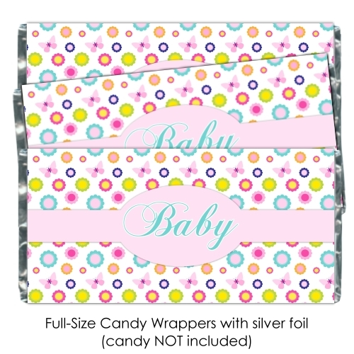 Floral Butterfly Baby Shower Candy Wrappers 180-BABY