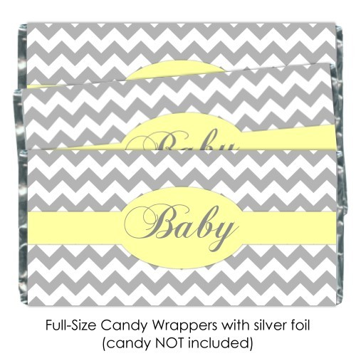 Gray Chevron with Yellow Baby Shower Candy Wrappers 181-BABY