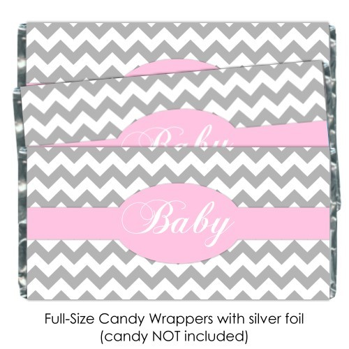 Gray Chevron with Pink Baby Shower Candy Wrappers 183-BABY