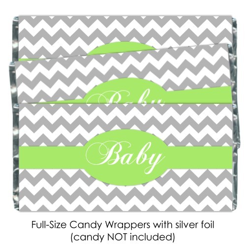 Gray Chevron with Green Baby Shower Candy Wrappers 184-BABY