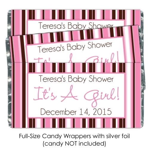 It's A Girl Pink Stripe Baby Shower Candy Wrappers 185-BABY