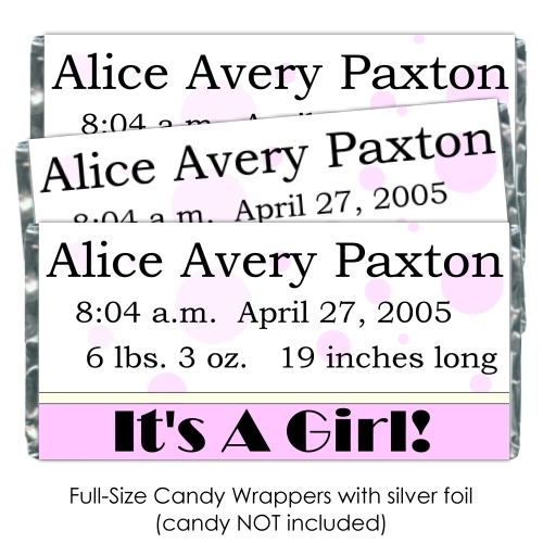 Pink Polka Dot It's A Girl Baby Candy Wrappers 186-BABY