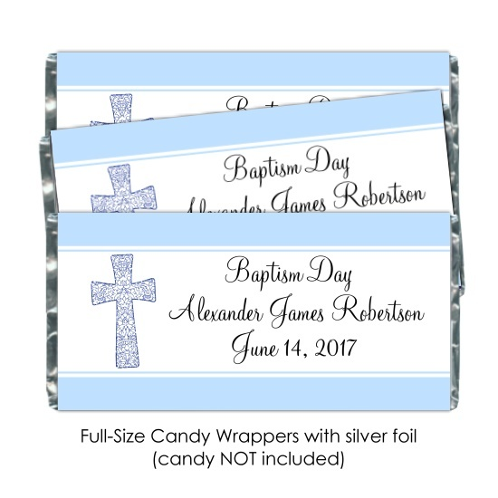 Blue Baptism or Christening Candy Wrappers 188-BABY