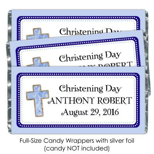 Blue Christening Candy Wrappers with Cross 189-BABY