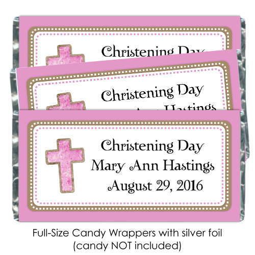 Pink Baptism or Christening Candy Wrappers with Cross 190-BABY