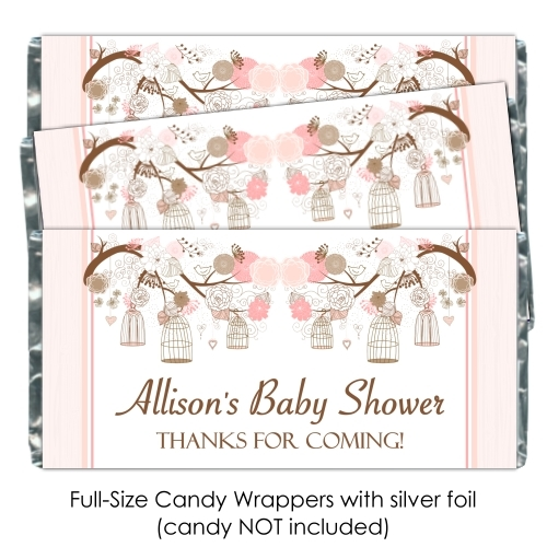 Peach Birdcage Baby Shower Candy Wrappers 193-BABY
