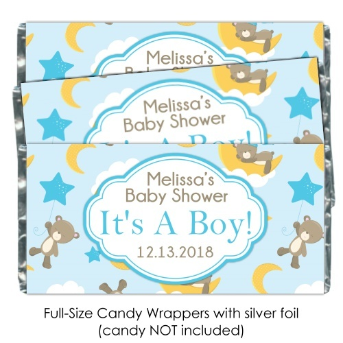 Teddy Bears, Stars and Moon Baby Shower Candy Wrappers 195-BABY