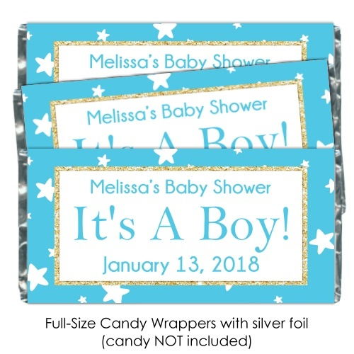 Teal Stars It's A Boy Baby Shower Candy Wrappers 196-BABY