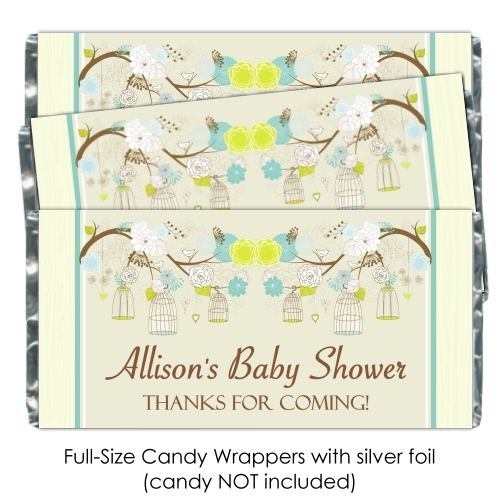 Green and Yellow Birdcage Baby Shower Candy Wrappers 198-BABY
