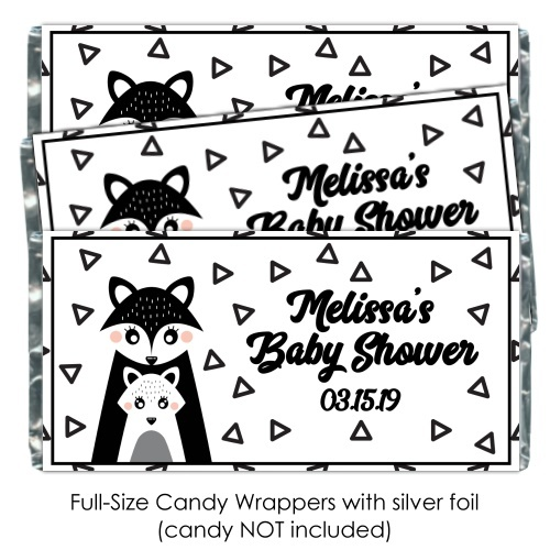 Black and White Mama Fox Baby Shower Candy Wrappers 199-BABY