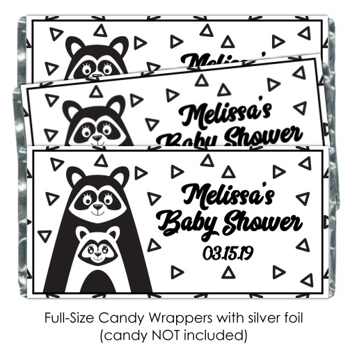 Black and White Mama Racoon Baby Shower Candy Wrappers 200-BABY