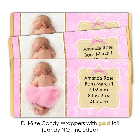Pink and Gold Birth Announcement Candy Wrappers 201-BABY