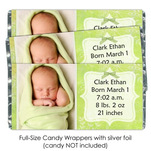 Green Floral Birth Announcement Candy Wrappers 202-BABY