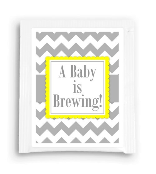 Yellow and Gray A Baby is Brewing Tea Favor 106-TeaFavor
