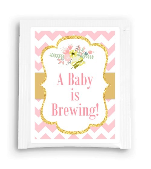 Gold and Pink Floral A Baby Is Brewing Tea Favor 110-TeaFavor