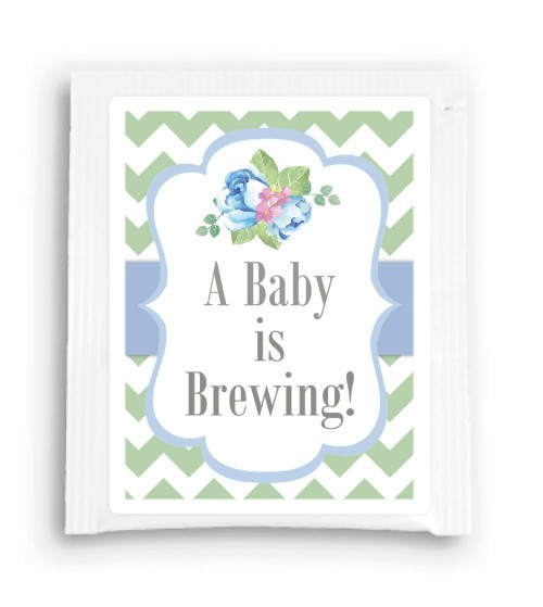 Blue Floral A Baby is Brewing Tea Favor 111-TeaFavor