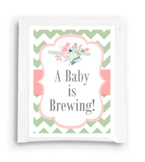 Green and Peach A Baby is Brewing Tea Favor 112-TeaFavor
