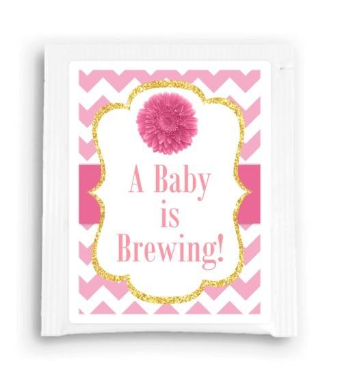 Pink Daisy A Baby is Brewing Tea Favor 113-TeaFavor