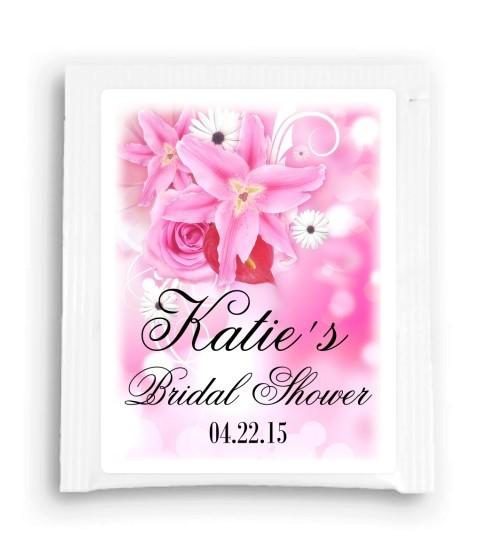 Beautiful Pink Floral Bridal Shower Tea Bag Favor 204-TeaFavor