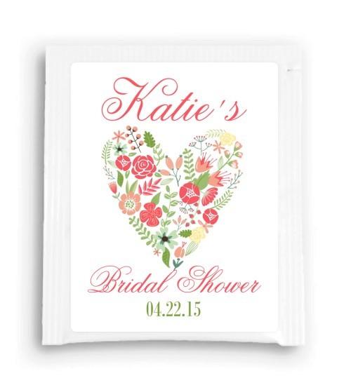 Floral Heart Bridal Shower Tea Bag Favor 203-TeaFavor