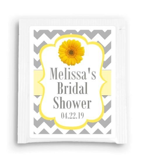 Yellow Gray Daisy Bridal Shower Tea Bag Favor 205-TeaFavor