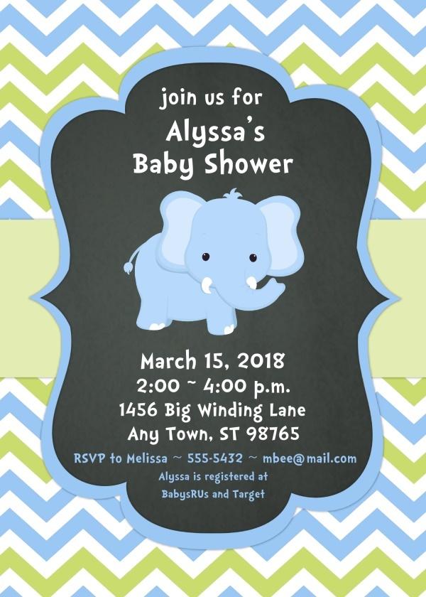 Blue Elephant Baby Shower Invitations 103-BabyShowerInvites