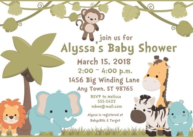 Baby Animals Safari Baby Shower Invitations 104jungle-BabyShowerInvites