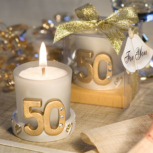 Golden Anniversary Candle Favor or 50th Birthday Favor 130-CAN