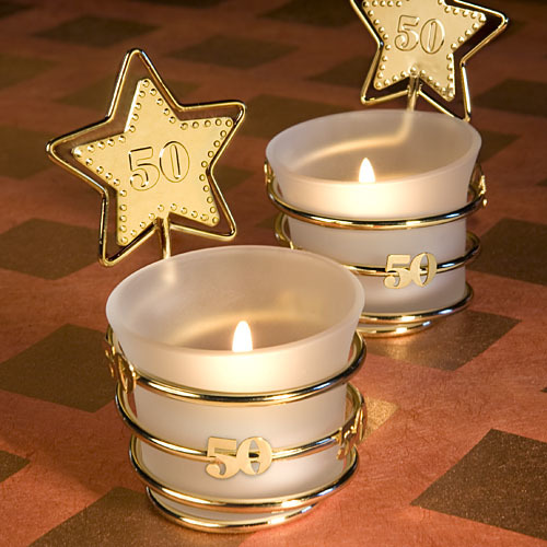Gold Star Design 50th Anniversary Celebration Candle Favors 172-CANDLE