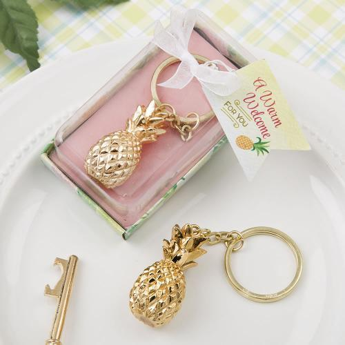 Warm Welcome Collection Gold Pineapple Themed Key Chain 279-UNIQUE