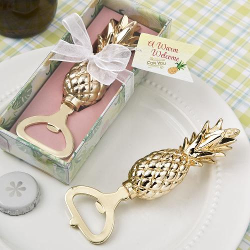 Warm Welcome Collection Gold Pineapple Theme Bottle Opener 312-WINE