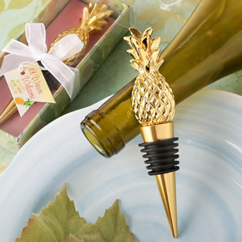 Warm Welcome Collection Pineapple Themed Gold Bottle Stopper 351-WINE