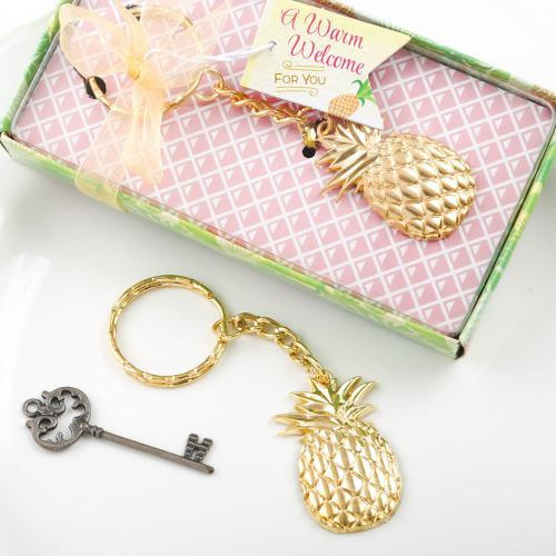 Warm Welcome Collection Pineapple Themed Gold Metal Key Chain 317-UNIQUE